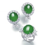A Set Of Jadeite And Diamond Jewellery