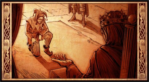 Court jester kneeling