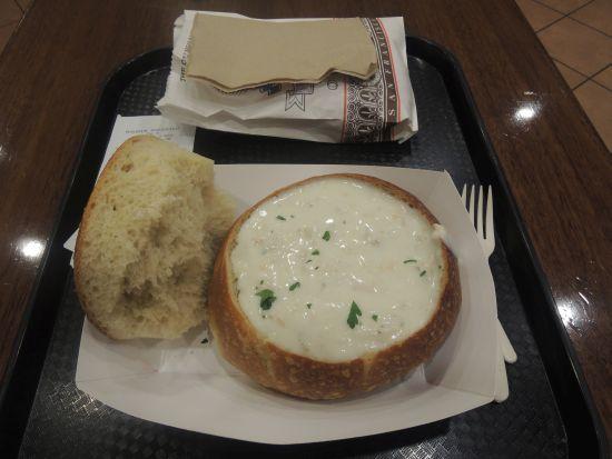 Clam Chowder on a bun