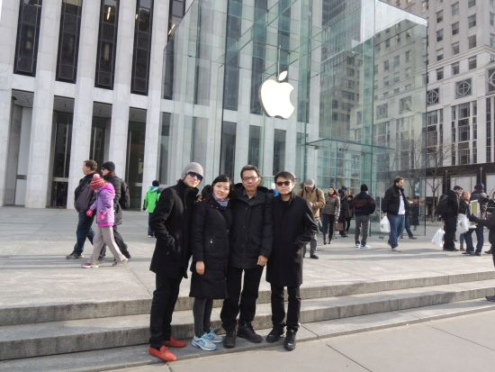 With the 3 kids at the Apple Store at 5th Avenue, New York City